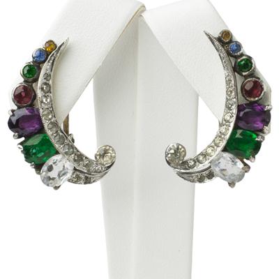 Crescent earrings w/gemstones by De Rosa