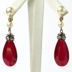 Ruby pendant earrings by Hattie Carnegie