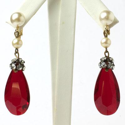 Ruby pendant earrings w/diamanté & pearls