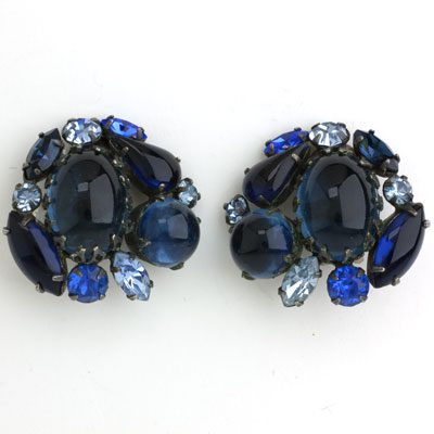 1950s sapphire glass earrings