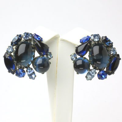 1950s clip on earrings with sapphire stones