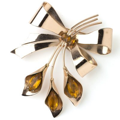 Calla lily brooch with citrine by Coro