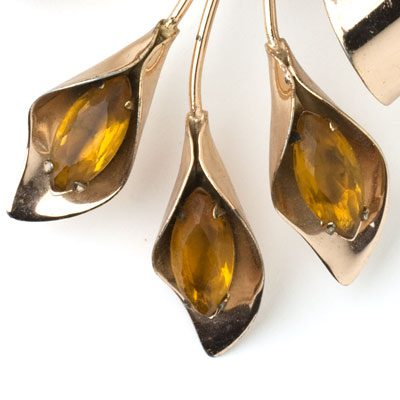 Close-up view of citrine navettes