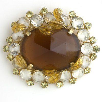 Hattie Carnegie brooch with golden topaz & citrine