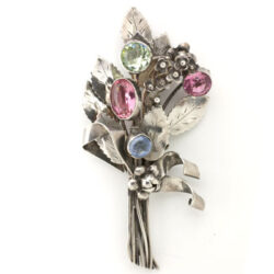 Jeweled brooch by Hobé in sterling with colorful flowers