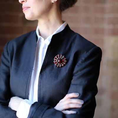One way to wear this brooch -- on your shoulder