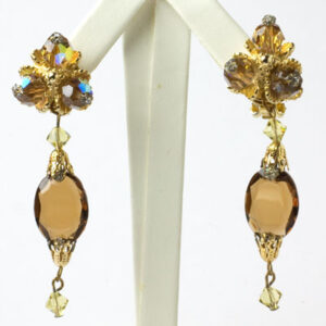 Hattie Carnegie earrings with brown topaz, citrine & gold pendants
