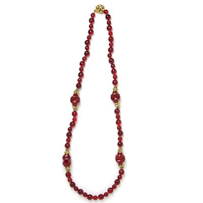 Miriam Haskell ruby bead necklace