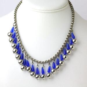Fringe statement necklace w/blue glass tubes & chrome balls