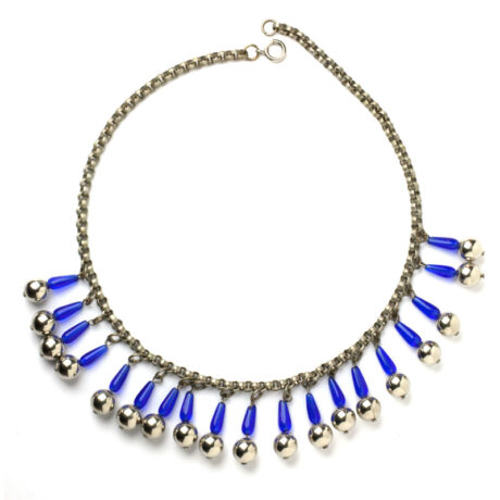 Full view of chrome & blue glass fringe necklace