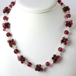 Ruby red and crystal necklace