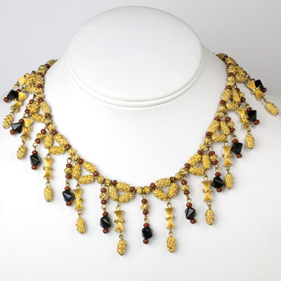 1950s necklace w/gold & colored beads
