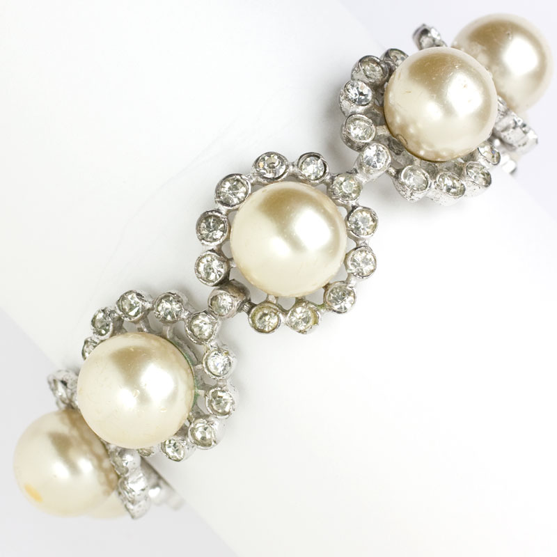Vintage pearl bracelet with diamante by Eisenberg