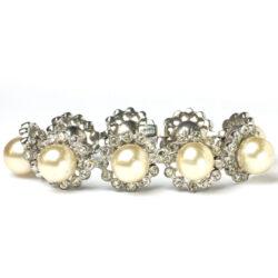 Eisenberg 1940s pearl, diamante & sterling bracelet