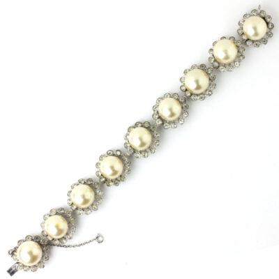 Front of 1940s Eisenberg pearl & diamante bracelet