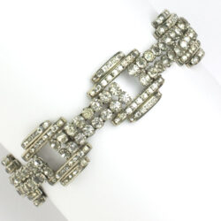 Gate link bracelet with diamanté