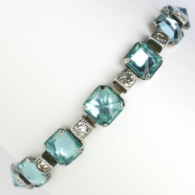 Vintage aquamarine bracelet with diamante in sterling