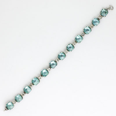 Front of Art Deco aquamarine, diamante & sterling bracelet