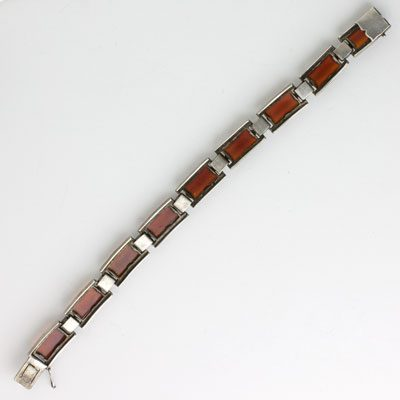 Back of marcasite bracelet with carnelian & onyx