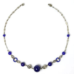 Chrome necklace w/cobalt blue accents