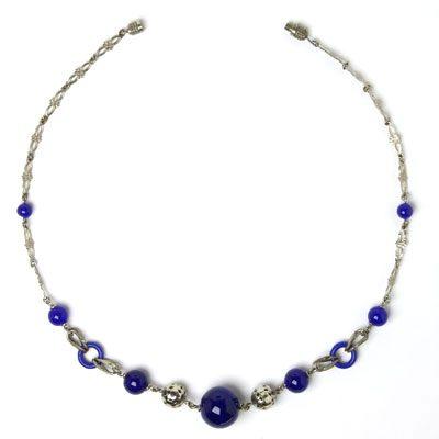 Chrome necklace w/cobalt blue accents