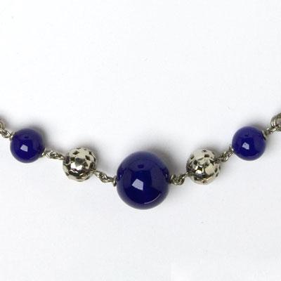 Close-up view of center w/blue glass & pierced chrome beads