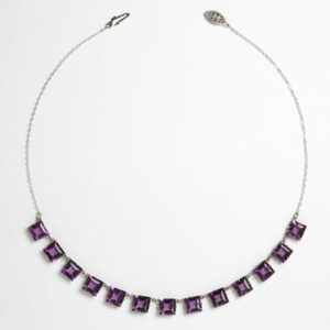 Amethyst chicklet-style Art Deco necklace