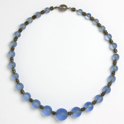 Blue frosted-glass bead Art Deco necklace