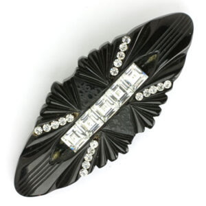 Art Deco Bakelite brooch in black with diamante