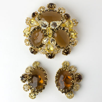 Schreiner Brooch & Earrings Set in Brown Topaz with Citrine