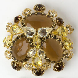 Brown topaz & citrine brooch in layered gold-tone setting