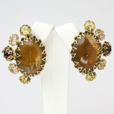 Brown topaz & citrine Schreiner ear clips