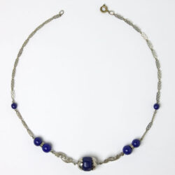 Lapis bead & chrome Machine Age necklace