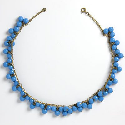 Blue bead & brass Art Deco necklace