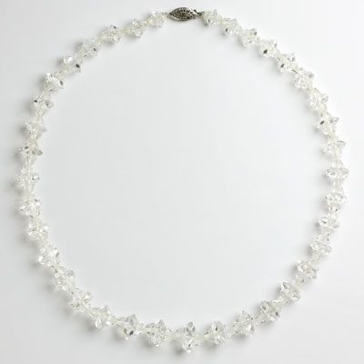 Rock crystal necklace with sterling clasp