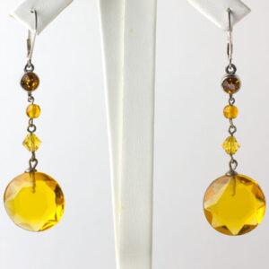 Citrine dangle earrings from 1920s