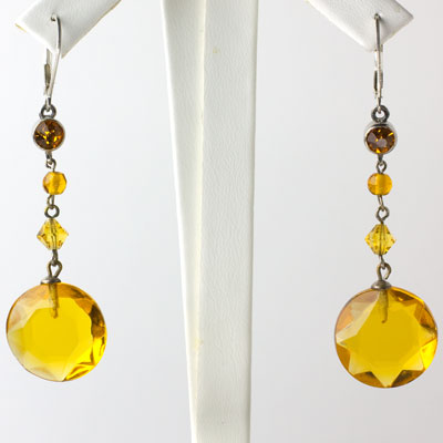 Citrine dangle earrings from 1920s