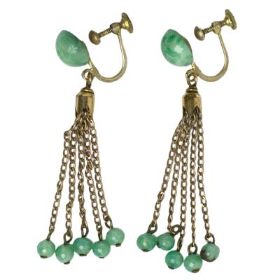 Art Deco jade dangling earrings