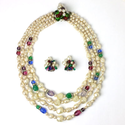 1950s costume jewelry: necklace and earrings set signed by Louis Rousselet