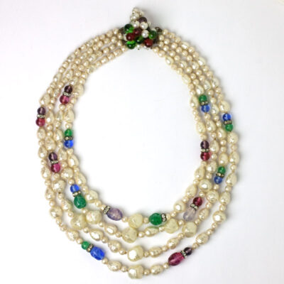 1950s baroque pearl & gemstone 4-strand necklace