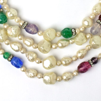 Center view of pearl & gemstone necklace