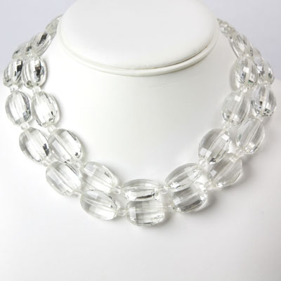 Vintage double strand necklace w/textured oval glass beads
