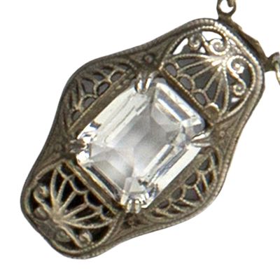 Close-up view of sterling filigree clasp