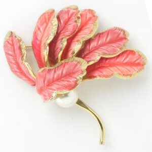 1950s coral enamel on gold brooch