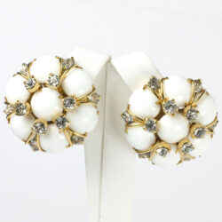 Milk glass earrings with gold wire & diamante