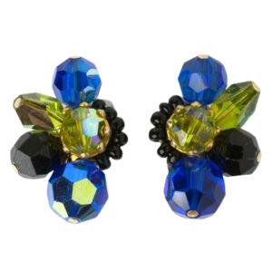 1950s colorful beaded cluster earrings