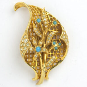 Vintage gold brooch with turquoise & diamanté accents
