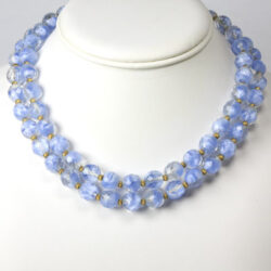 2-strand blue bead choker necklace