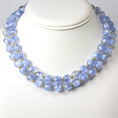 2-strand blue bead choker necklace