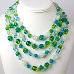 Beaded multi strand necklace in blues & greens